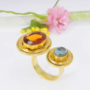 Rings Dark Citrine and Blue Hydro Gold Plated Designer Adjustable Ring Jewelry - by Ishu gems
