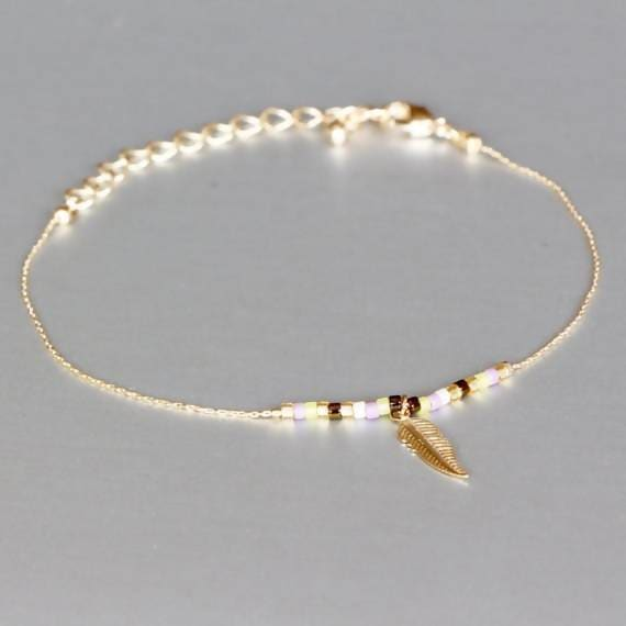 bracelets Delicate Charm Bracelet Gold Minimal Jewelry,Gold Dipped Feather Boho,Wrist Chain Gold& Beads MB3 - by Silver Soul Charms