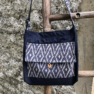 Tote Bags Denim Bag with Blue Ikat Print