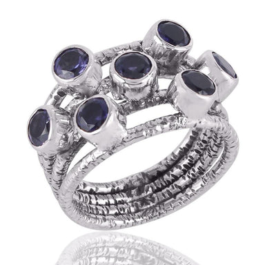 Rings New Design Real Iolite Gemstone Sterling Silver Multi Stone Solid - Title by Rajtarang