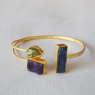 Designer 18K Gold Plated Amethyst Kyanite And Peridot Gemstone Party Wear Bangle