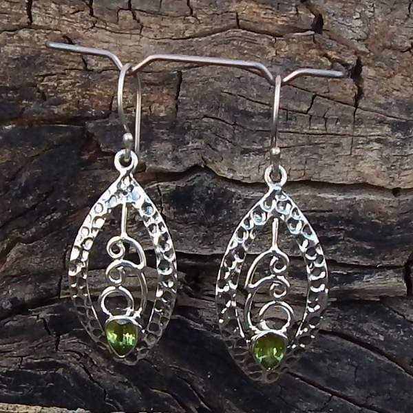 Earrings Designer Green Peridot 925 Sterling Silver Statement August Birthstone Jewelry Dangle