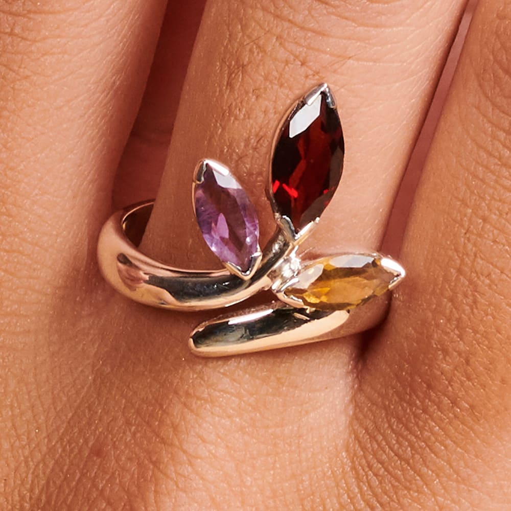 Rings Designer Multistone Stacking Ring Gift for women Amethyst Garnet Citrine Sterling Silver Jewelry Multi-color Dainty Partywear Bridal -