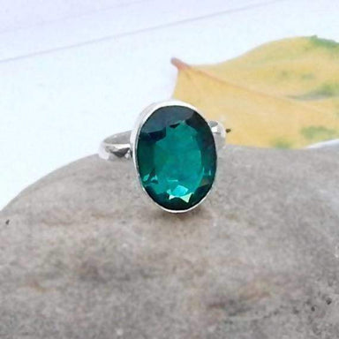 Rings Dioptase Ring Oval Cut Quartz Gemstone 925 Sterling silver Handmade Silver