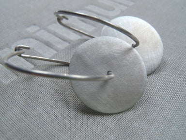 Earrings Disc hoop earrings minimal flat design in brushed sterling! - by dikua