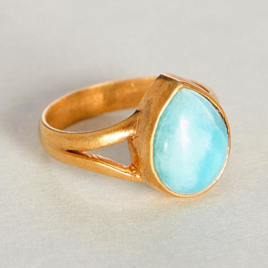 Rings Dominican Larimar 925 Sterling Silver 18K Yellow Gold Rose Filled Ring Handmade in India Gift Jewelry Gemstone ring - by Subham Jewels