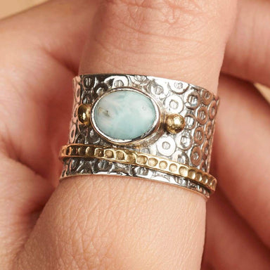 Rings Dominican Larimar Gemstone Ring Spinner Meditation Fidget Handmade - by InishaCreation