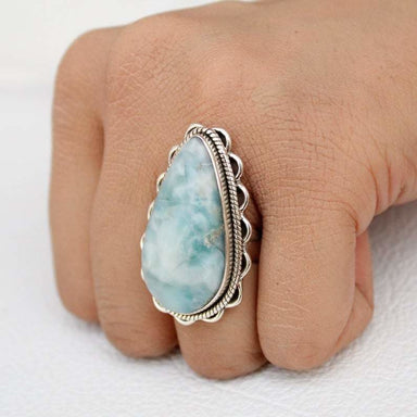 Ring Dominican Larimar ring silver larimar sky blue gemstone boho anniversary gift Promise Statement - by GIRIVAR CREATIONS