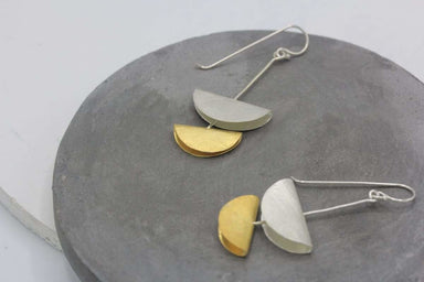 Earrings Double moon handmade dangling earrings in partial gold coating