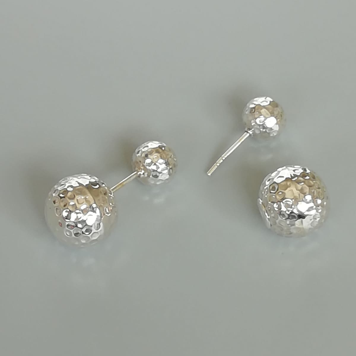 Earrings Double sided sterling silver ball studs | Stunning ear | Ball cartilage | Silver jewelry | Bohemian earrings | E658 - by