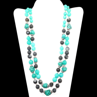 Double Strands Beaded Necklace Ithaca Peak Turquoise & Black Druzy Beads Blue Agate 925 Sterling Silver Handmade - by Vidita Jewels