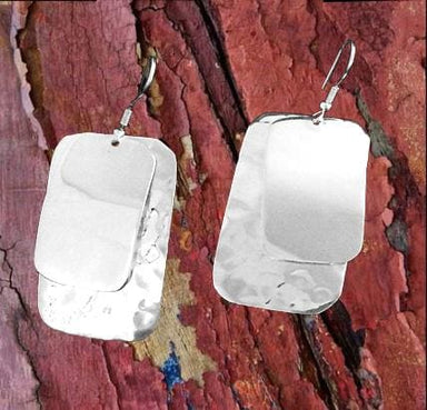 Double Tile Silver Overlay Earrings - by Artesanas Campesinas