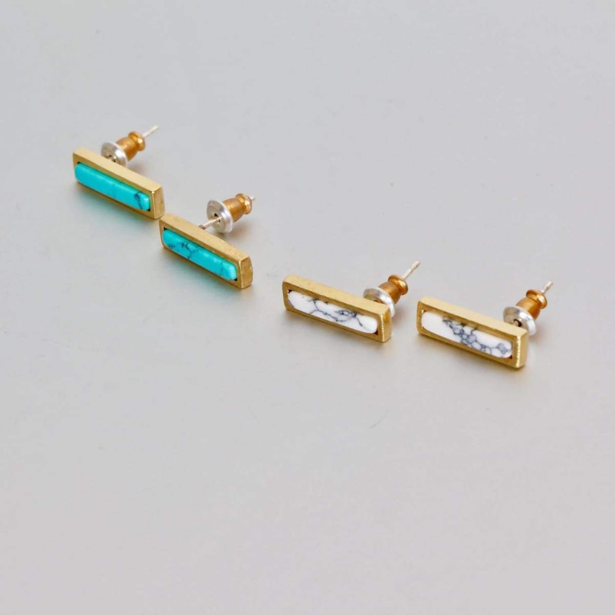 Earrings Earring Sets,Howlite And Turquoise Bar Stone Earrings,Gold Dipped Gift Jewellery Geometric Jewelry Minimalist (ESET1)