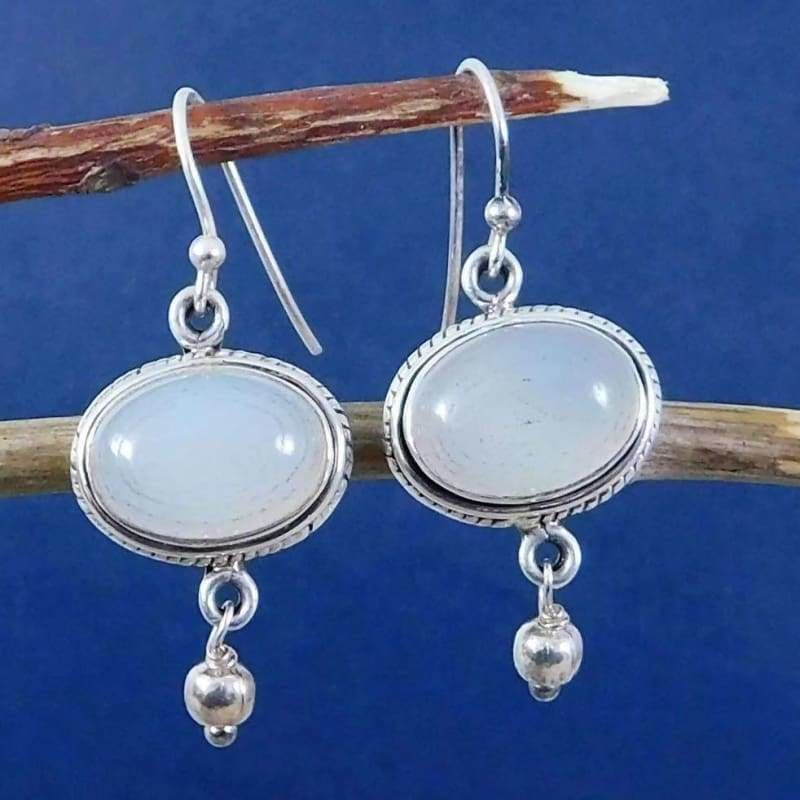Dangle Earrings with Cab White Onyx Gemstone - Earrings