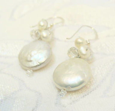 Earrings Freshwater Pearl White Flat Round (Coin Shape) bridal simple - sterling silver ear wires Silk thread
