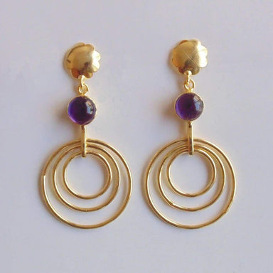 18K Gold Plated Natural Amethyst Gemstone Delicate Long Dangle Earrings