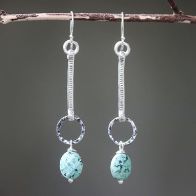 Earrings,Oval blue turquoise with silver stick and circle ring on sterling hooks style - by Metal Studio Jewelry