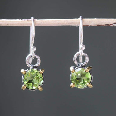 Earrings round faceted peridot in silver bezel and brass prongs setting with sterling hooks style