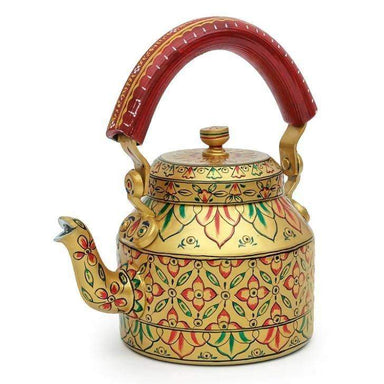 Painted Teapots Elegant Golden Hand Tea Pot in Aluminium