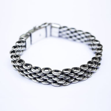 Bracelets Elegant Mens' Silver Bracelet Handmade Jewelry Gift for men - by Craftnez