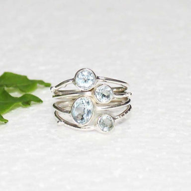 Rings Elegant Natural Blue Topaz Gemstone Silver Ring