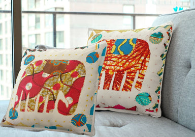 pillows & cushions Elephant Motif Applique Work Cotton Throw Pillow Case (set of 2) Cases Cushions - by Vermilion Lifestyle