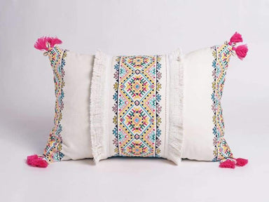 Embroidered pillow cover multicoloured handmade bohemian Peruvian 14X21 inches - Pillows & Cushions