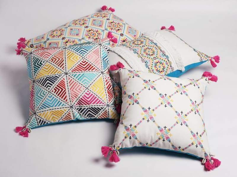 Embroidered pillow cover multicoloured handmade bohemian Peruvian 16X16 inches - Pillows & Cushions