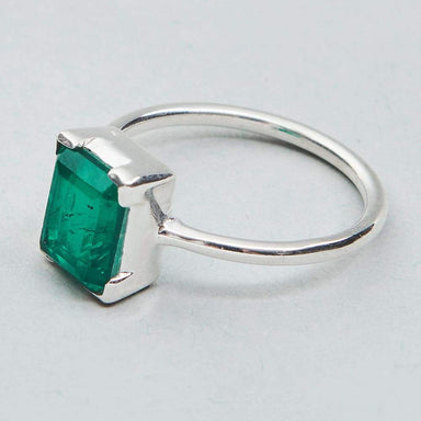 Rings emerald ring 925 sterling silver handmade jewelry may birthstone women gift for her statement - by jaipur art jewels