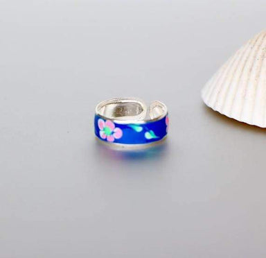 Rings Enamel Toe Ring Navy Blue Silver Flower Print Bohochic Feet jewelry Feminine (TS40N)