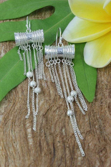 Eternal Now Earrings with Sandblasted Silver Beads
