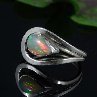 Ethiopian Opal Ring Designer Gemstone Handmade Statement 925 Silver Boho Women Gift For Her - by GIRIVAR CREATIONS