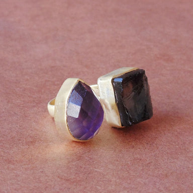 Everyday Wear 18K Gold Plated Purple Amethyst And Smoky Quartz Gemstone Stunning Ring - by Bhagat Jewels