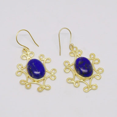 Everyday Wear Gold Plated Blue Lapis Lazuli Gemstone Dainty Earrings - by Bhagat Jewels
