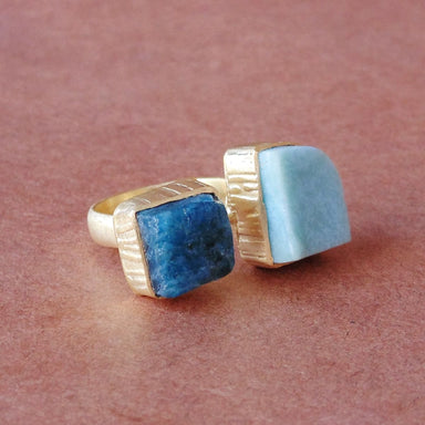 Excellent 18K Gold Matte Vermeil Blue Apatite And Larimar Gemstone Finger Ring - by Bhagat Jewels