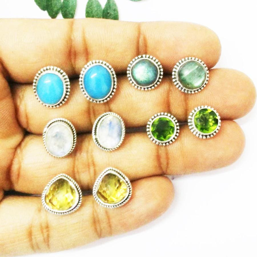 Exclusive 5 PAIRS Gemstone Earrings Birthstone 925 Sterling Silver Fashion Handmade Jewelry Weekdays Stud Gift - by Zone