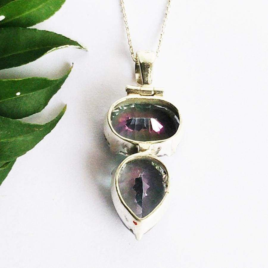 Necklaces Exclusive MIDNIGHT MYSTIC TOPAZ Gemstone Pendant Birthstone 925 Sterling Silver Fashion Handmade Free Chain Gift