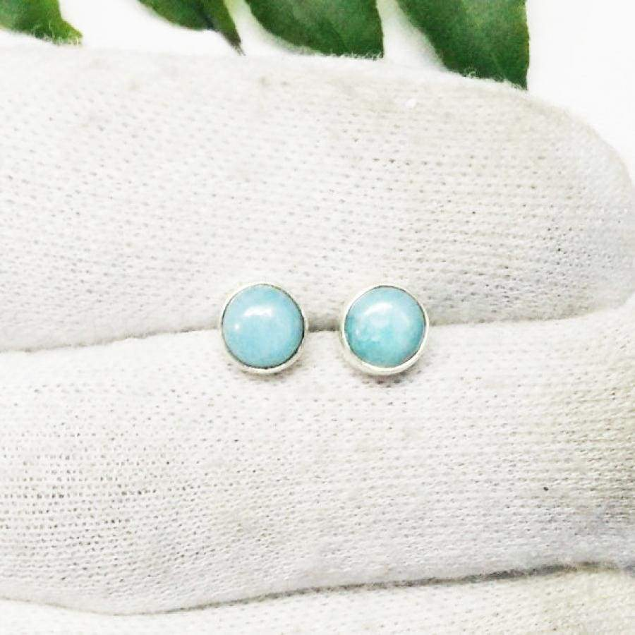 Earrings Exclusive NATURAL DOMINICAN LARIMAR Gemstone Birthstone 925 Sterling Silver Fashion Handmade Stud Gift