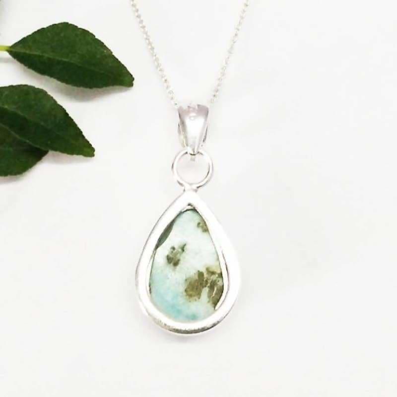 Necklaces Exclusive NATURAL DOMINICAN LARIMAR Gemstone Pendant Birthstone 925 Sterling Silver Fashion Handmade Free Chain Gift