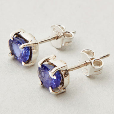 Earrings Exclusive NATURAL TANZANITE Gemstone Birthstone 925 Sterling Silver Fashion Handmade Stud Gift - by Jewelry Zone