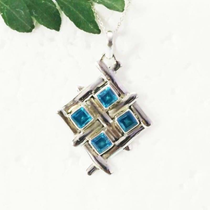 Necklaces Exclusive SWISS BLUE TOPAZ Gemstone Pendant Birthstone 925 Sterling Silver Fashion Handmade Free Chain Gift