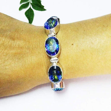 Bracelets Exotic MIDNIGHT MYSTIC TOPAZ Gemstone Bracelet Birthstone 925 Sterling Silver Fashion Handmade All Size Gift