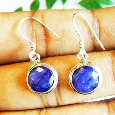 Earrings Exotic NATURAL INDIAN BLUE SAPPHIRE Gemstone Birthstone 925 Sterling Silver Fashion Handmade Dangle Gift