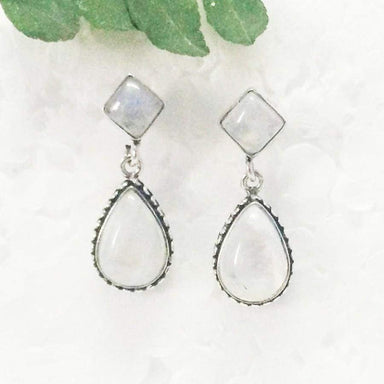 Earrings Exotic NATURAL FIRE RAINBOW MOONSTONE Gemstone Birthstone 925 Sterling Silver Fashion Handmade Drop Gift