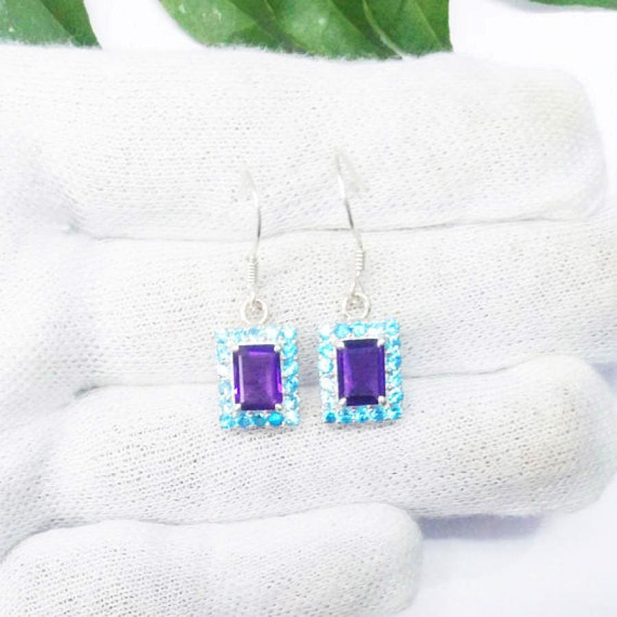 earrings Exotic PURPLE AMETHYST / BLUE TOPAZ Gemstone Earrings Birthstone 925 Sterling Silver Fashion Handmade Dangle Gift - by Jewelry Zone