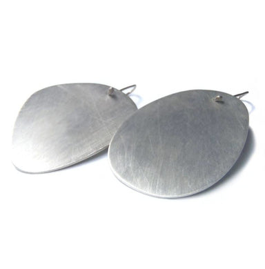 Earrings Extra large flat abstract hooked earrings in brushed sterling - by dikua