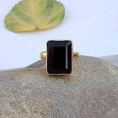Faceted Black Stone Silver Gold Plated Silver Ring - Rings