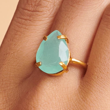 Rings Faceted Chalcedony 925 Sterling Silver 18K Yellow Gold Rose Filled Ring Handmade in India Gift Jewelry Gemstone ring - by Subham