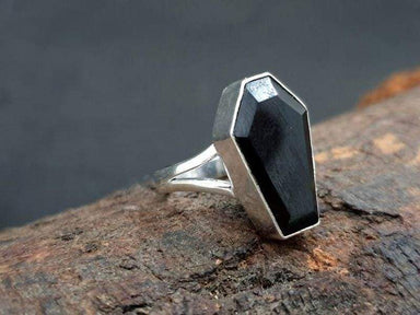 Rings Faceted Cut Black Onyx Coffin Ring,Solid 925 Sterling Silver Ring Gift Jewelry Gemstone Engagement Ring,Handmade For Her