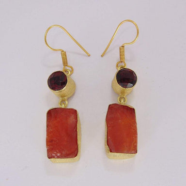 Faceted Garnet And Raw Carnelian Gemstone Party Wear Hook Earrings